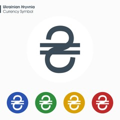 Ukrainian Hryvnia sign icon.Money symbol. Vector illustration.