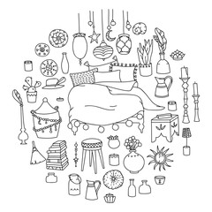 Vector interior objects in gypsy style. Hand-drawn style
