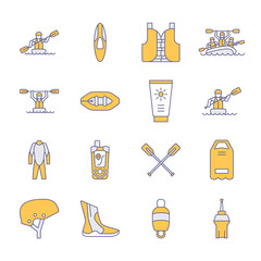 Rafting, kayaking flat line icons. Vector illustration of water sport equipment - river raft, kayak, canoe, paddles, life vest. Linear signs set, summer recreation pictograms for paddling gear store.