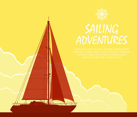 Sailing yacht at sunset. Landscape with luxury yacht on huge cloudy sky background. Vector illustration.
