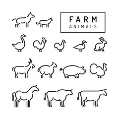 Vector farm animals silhouettes outline isolated on white. Livestock and poultry flat line icons. Set of animals for the design of farm products.