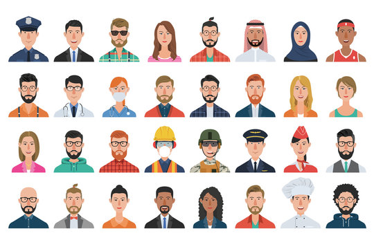 Set of people avatar icons. Diverse men and women avatar