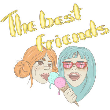 """Illustration with two cheerful girlfriends. Hand-written lettering """"You're my best friend"""". Easy to use, great for postcards, T-shirts and congratulations"""