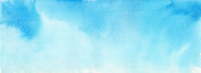 Blue watercolor background for backgrounds. Hand drawn.