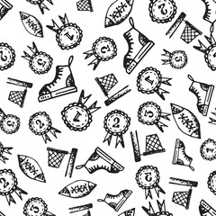 Seamless pattern with hand-drawn doodle icons, back to school theme