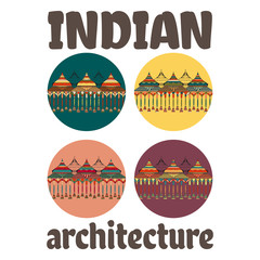 Indian architectural complex of ancient, richly decorated with ornaments. Set of vector illustration with text