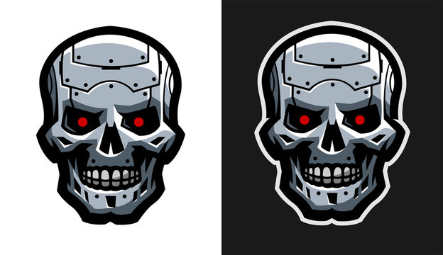 The metal skull of the robot. Two versions.