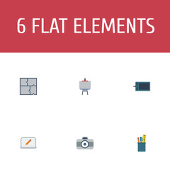 Flat Icons Scheme, Screen, Case And Other Vector Elements. Set Of Creative Flat Icons Symbols Also Includes Case, Easel, Tools Objects.