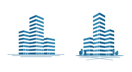 Modern city, skyscraper logo. Construction, building icon or label. Vector illustration