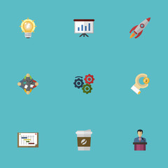 Flat Icons Gear, Discussion, Schedule And Other Vector Elements. Set Of Projects Flat Icons Symbols Also Includes Drink, Scheme, Bulb Objects.