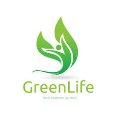 green life logo template, Vector logo design with human and tree symbol.