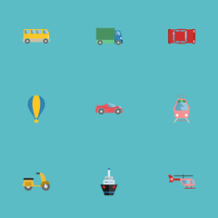 Flat Icons Chopper, Boat, Scooter And Other Vector Elements. Set Of Auto Flat Icons Symbols Also Includes Ship, Boat, Lorry Objects.