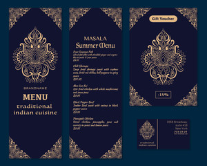 Vector illustration of a menu for a restaurant or cafe Indian oriental cuisine, business cards and vouchers. Hand-drawn gold pattern on a dark background. Logos Lotus flower.