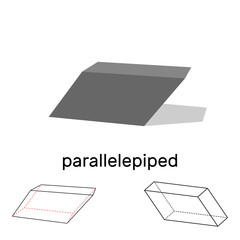 Parallelepiped. Geometric shape. Isolated on white background. Vector illustration.