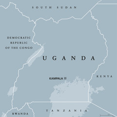 Uganda political map with capital Kampala. Republic in East Africa. Landlocked country in the African Great Lakes region, including a part of Lake Victoria. Gray illustration. English labeling. Vector