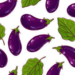Pretty seamless pattern made of colorful hand drawn eggplants.