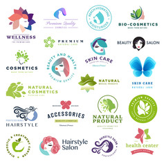 Set of beauty and cosmetics concept icons. Flat design vector illustration for cosmetics, healthcare, natural and organic products, wellness and spa, beauty and health center.