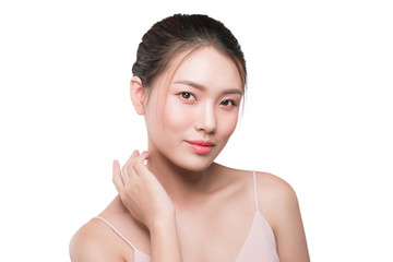 Healthy skin concept. portrait of beautiful woman model with fresh daily makeup looking at camera