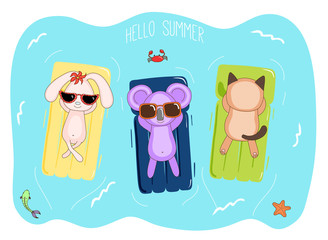 Hand drawn vector illustration of a koala, bunny and cat in sunglasses floating in the sea on inflatable air mattresses, with fish, starfish and crab, text Hello Summer.