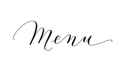 Menu word, hand written custom calligraphy isolated on white.