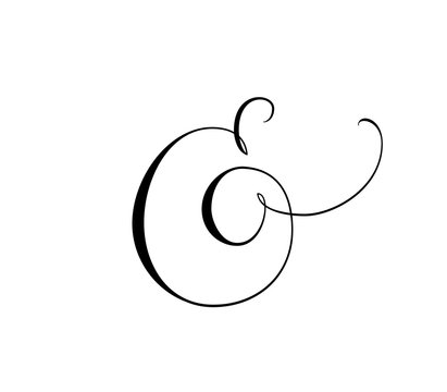 Custom decorative ampersand isolated on white. Great for wedding invitations, cards, banners, photo overlays.