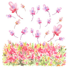 Watercolor postcard, card, illustration. With a picture of flowers, grasses, plants. Pink, green, yellow wildflowers, on top are pink, red flowers.