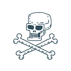 Skull cartoon. Skeleton head drawing on white background