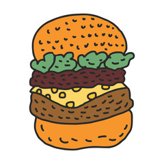 Hamburger drawing isolated. Big burger cartoon style