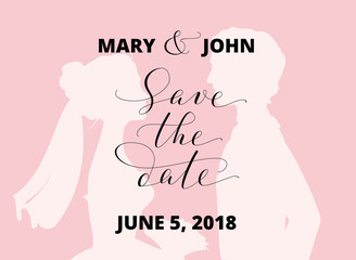 Save the date card with bride and groom silhouettes and hand written custom calligraphy