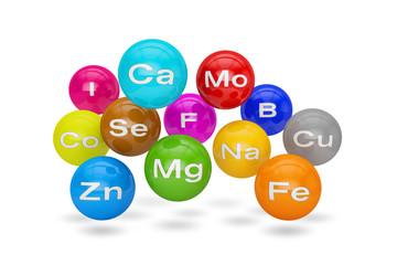 Chemische Minerale und Mikroelemente - Mineralstoffe - Gesundheit - Gesundheitswesen