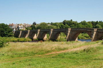 bridge over river Tyne at Corbridge in summer
