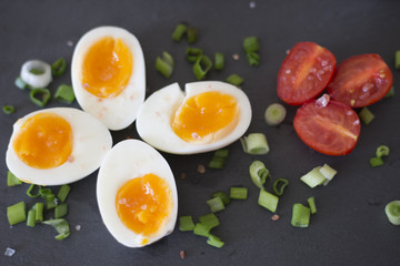 Boiled eggs with vegetables