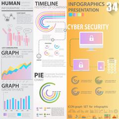 Business graphics data element templates sets, chart , graph , timeline , infographics ,  gradient colors style