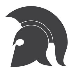 History concept with spartan helmet, vector silhouette