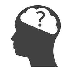 Concept of Psychology for human head with brain and question mark