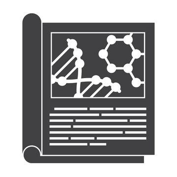 Scientific journal, vector black silhouette on white background