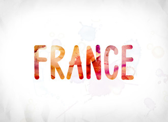 France Concept Painted Watercolor Word Art
