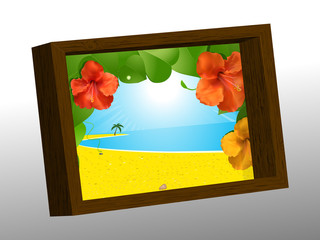 Wooden photo frame with summer picture