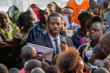 Rwandan Independent Presidential candidate Phillipe Mpayimana addresses his supporters during a rally in Nyanza