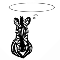 zebra head and thinking balloon