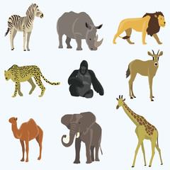 African animals cartoon vector set.