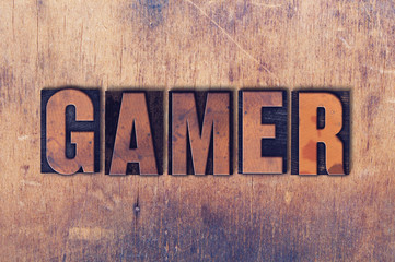 Gamer Theme Letterpress Word on Wood Background