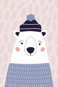 Cute polar bear in hat and sweater