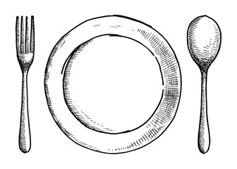 fork spoon and a plate of hand-drawing. Cutlery vector illustration