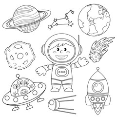 Wall Murals Cartoon draw Set of space elements. Astronaut, Earth, saturn, moon, UFO, rocket, comet, constellation, sputnik and stars. Black and white illustration for coloring book