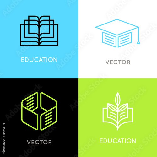 Vector Set Of Abstract Logo Design Templates Online Education And
