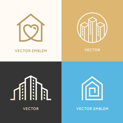 Construction, renovation and real estate - logo templates
