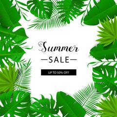 Summer sale banner. Tropical leaves. Vector illustration. Summer banner with 3d hawaiian leaf. Floral banner.
