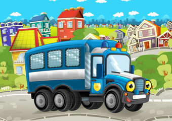 happy and funny cartoon police truck looking and smiling driving through the city - illustration for children