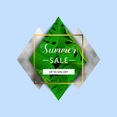 Summer sale banner. Tropical leaves. Vector illustration. Summer banner with 3d hawaiian leaf on blue background with marble elements.